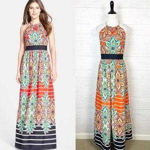 Eliza J Floral Print Halter Maxi Dress Sz 4
